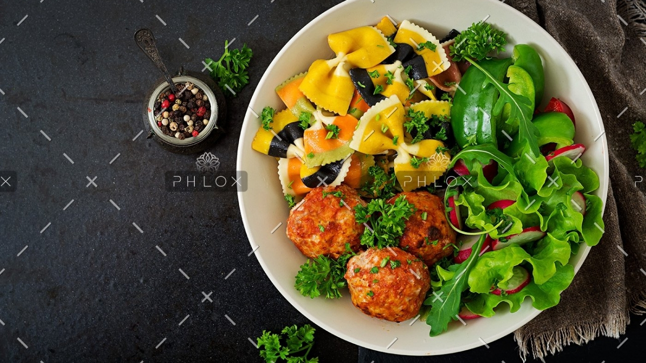 demo-attachment-6-farfalle-pasta-durum-wheat-with-baked-meatballs-PQBKRNX